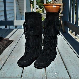 Liliana Women's  Fringe Mid Calf Faux Suede Boots